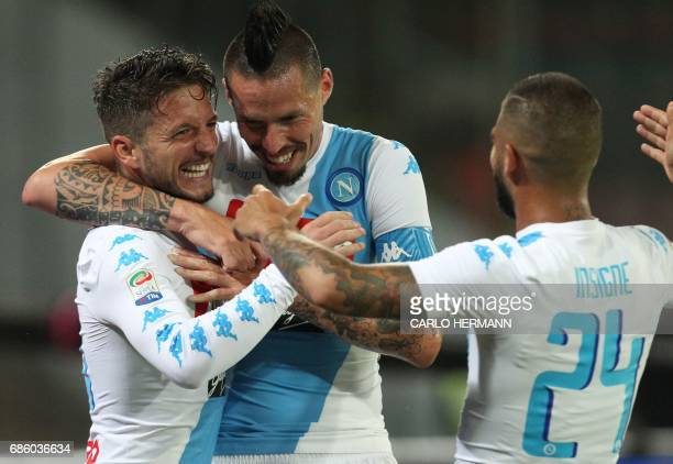 Napoli's Belgian forward Dries Mertens celebrates with teammates Napoli's midfielder from Slovakia Marek Hamsik and Napoli's midfielder from Italy...