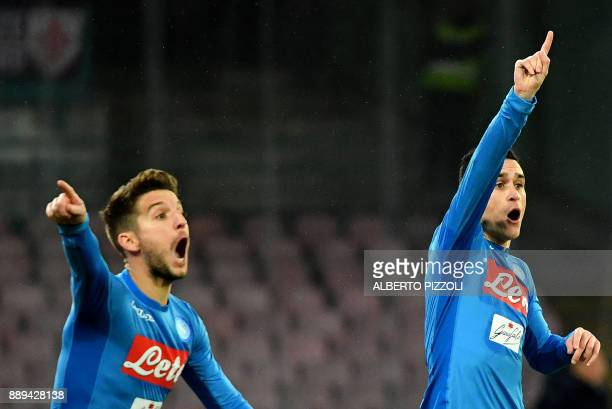 Napoli's Belgian striker Dries Mertens and Napoli's Spanish striker Jose Maria Callejon react during the Italian Serie A football match Napoli vs...