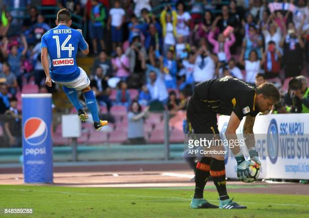 Napoli's Belgian striker Dries Mertens celebrates after scoring his second penalty kick during the Italian Serie A football match Napoli vs Benevento...