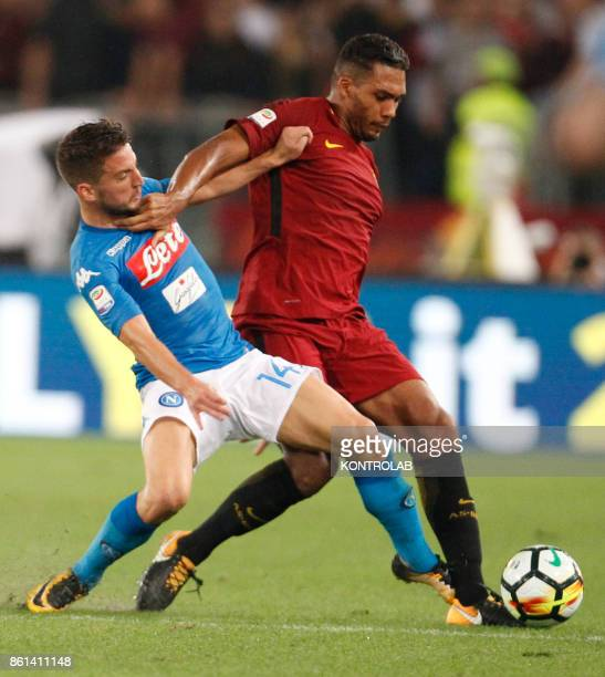 OLIMPICO ROME LAZIO ITALY Napoli's Belgian striker Dries Mertens fights for the ball with Roma's Brazilian defender Juan Jesus during the Italian...