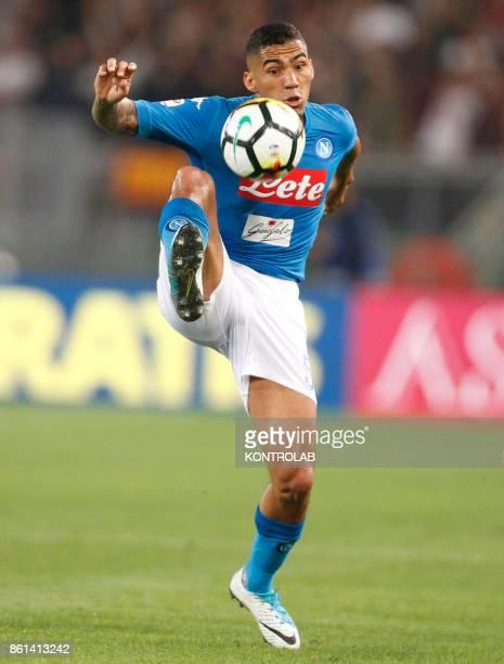 OLIMPICO ROME LAZIO ITALY Napoli's Brazilian midfielder Allan controls the ball during the Italian Serie A football match AS Roma vs SSc Napoli at...