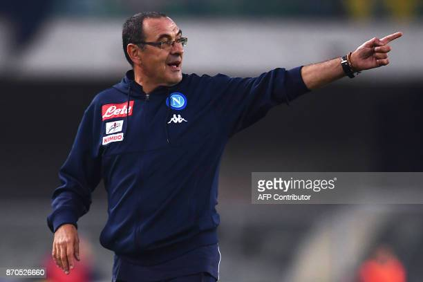 Napoli's coach Maurizio Sarri from Italy gestures during the Italian Serie A football match Chievo Verona Vs Napoli on November 5 2017 at the...