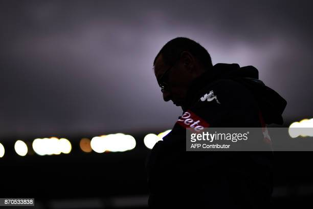 Napoli's coach Maurizio Sarri from Italy looks on during the Italian Serie A football match Chievo Verona Vs Napoli on November 5 2017 at the...