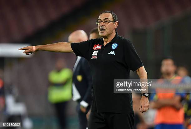 Napolis coach Maurizio Sarri gestures during the Serie A match between SSC Napoli and AC ChievoVerona at Stadio San Paolo on September 24 2016 in...