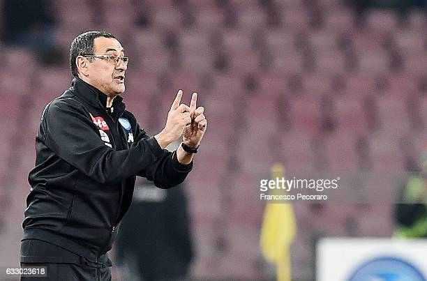 Napolis coach Maurizio Sarri gestures during the Serie A match between SSC Napoli and US Citta di Palermo at Stadio San Paolo on January 29 2017 in...