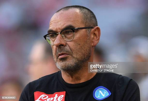 Napoli's coach Maurizio Sarri is pictured prior the third place Audi Cup football match between SSC Napoli and Bayern Munich in the stadium in Munich...