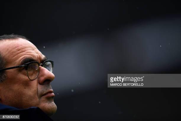 Napoli's coach Maurizio Sarri looks on during the Italian Serie A football match Chievo Verona Vs Napoli on November 5 2017 at the 'Marcantonio...