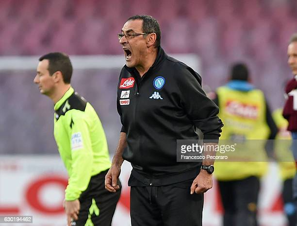 Napolis coach Maurizio Sarri looks on during the Serie A match between SSC Napoli and FC Torino at Stadio San Paolo on December 18 2016 in Naples...