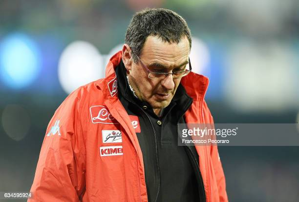 Napolis coach Maurizio Sarri looks on during the Serie A match between SSC Napoli and Genoa CFC at Stadio San Paolo on February 10 2017 in Naples...