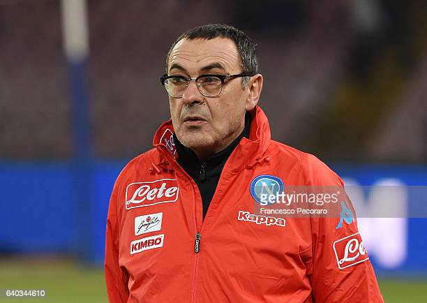 Napoli's coach Maurizio Sarri looks on during the Serie A match between SSC Napoli and US Citta di Palermo at Stadio San Paolo on January 29 2017 in...