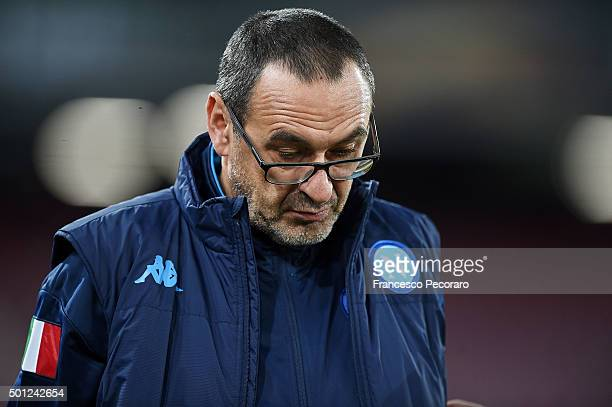 Napoli's coach Maurizio Sarri looks on during the UEFA Europa League Group D match between SSC Napoli and Legia Warszawa on December 10 2015 in...