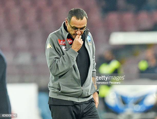 Napolis coach Maurizio Sarri stands disappointed after the Serie A match between SSC Napoli and US Sassuolo November 28 2016 in Naples Italy