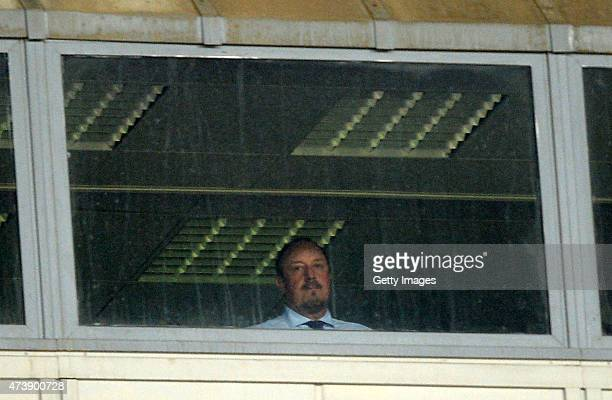 Napoli's coach Rafael Benitez disqualified in the stands watching the race during the Serie A match between SSC Napoli AC Cesena at Stadio San Paolo...
