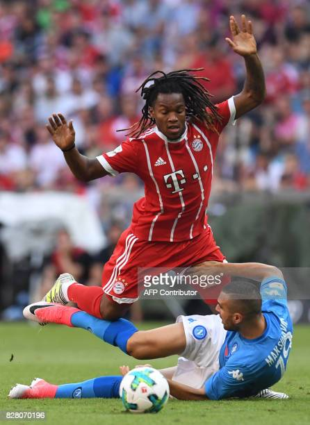 Napoli's Croatian defender Nikola Maksimovic and Bayern Munich's Portuguese midfielder Renato Sanches vie for the ball during the third place Audi...