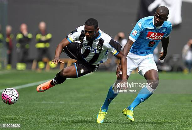 Napoli's defender Kalidou Koulibaly vies with Udinese's forward Duvan Zapata during the Italian Serie A football match between Udinese Calcio v SSC...