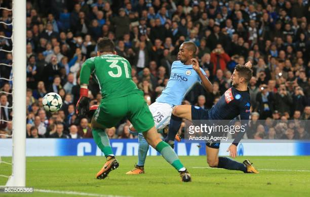 Napoli's Dries Mertens fails to score against Manchester City during the Champions League group F soccer match between Manchester City FC and Napoli...