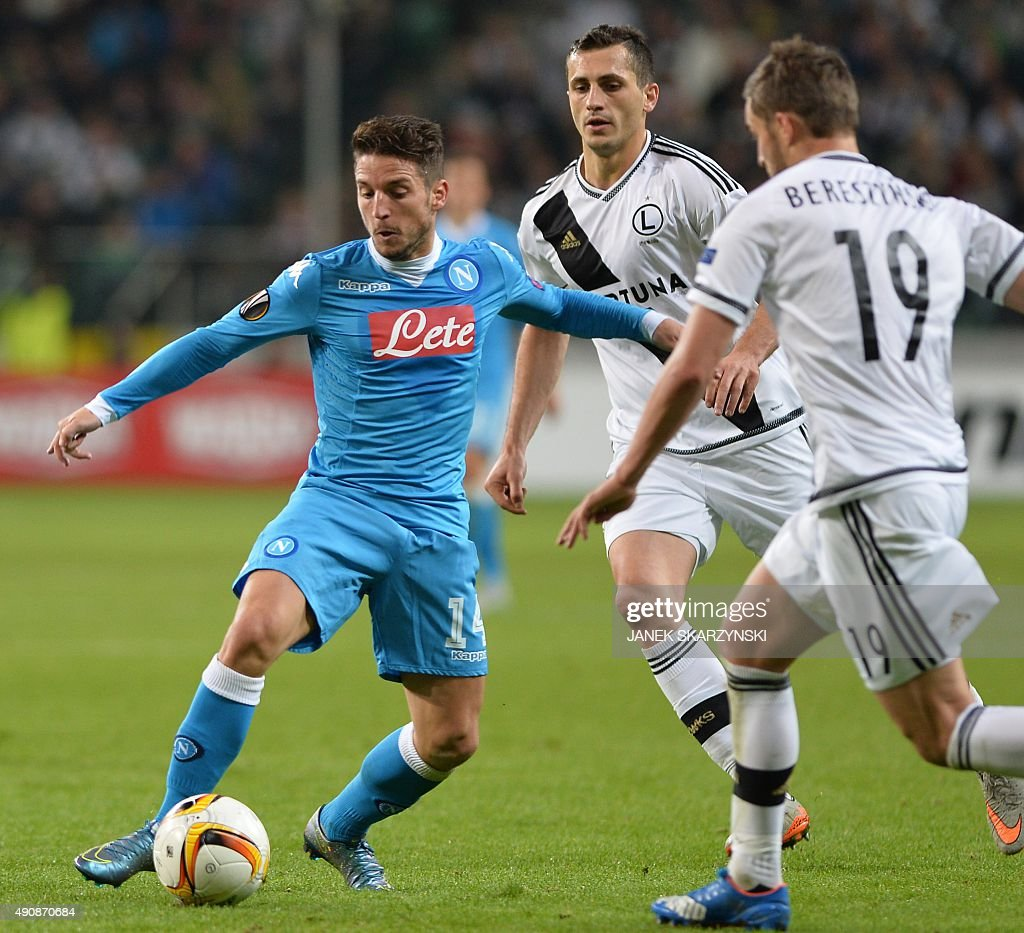 Napoli's Dries Mertens vies for the ball with Legia's Bartosz Bereszczynski during the UEFA Europa League firstleg Group D football match Legia...