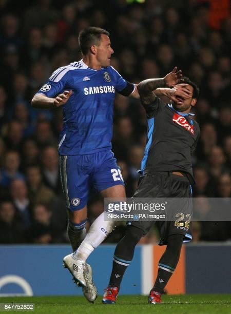 Napoli's Ezequiel Lavezzi and Chelsea's John Terry battle for the ball