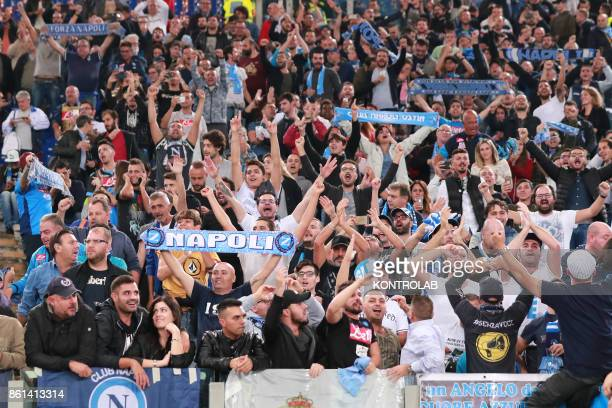 OLIMPICO ROME LAZIO ITALY Napoli's fans cheers during the Italian Serie A football match AS Roma vs SSc Napoli at the Olimpico Stadium SSC Napoli won...
