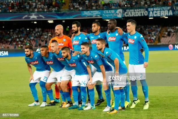 Napoli's football team players pose before the UEFA Champions League Play Off first leg football match SSC Napoli vs OCG Nice on August 16 2017 at...