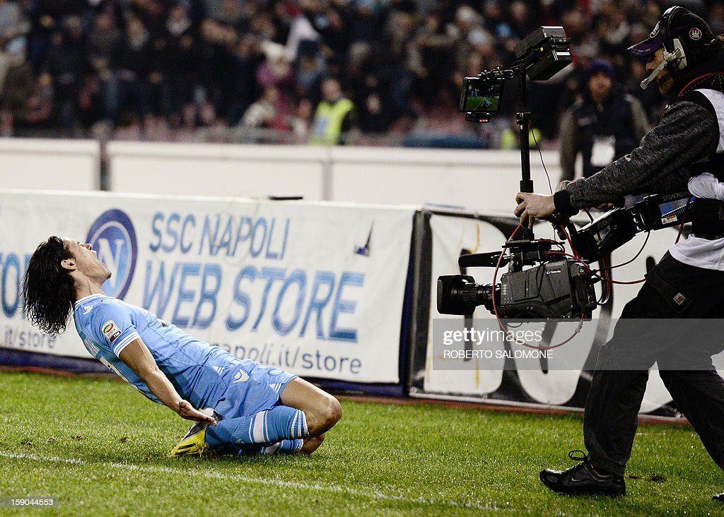 SSC Napoli's forward Edinson Cavani celebrates after scoring during the Serie A football match SSC Napoli vs A.S. Roma at San Paolo Stadium in Naples on January 6, 2013.