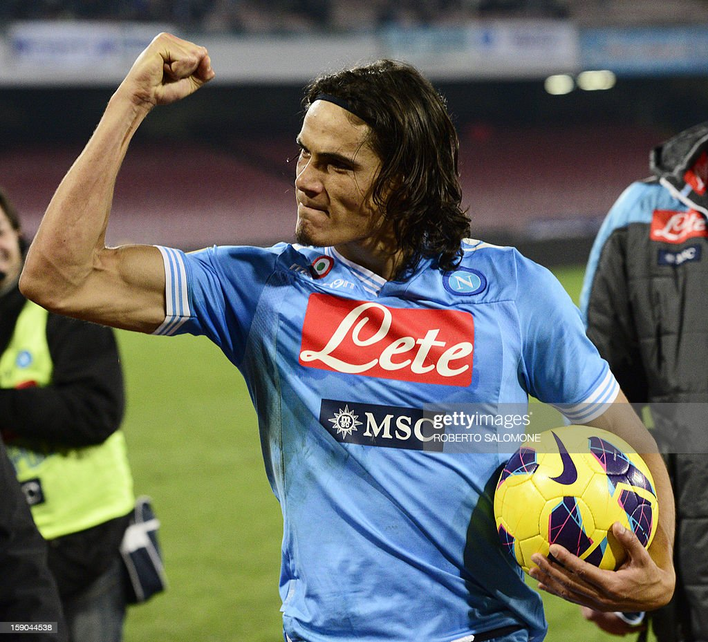 SSC Napoli's forward Edinson Cavani celebrates as he leaves the pitch at the end of the Serie A football match SSC Napoli vs A.S. Roma at San Paolo Stadium in Naples on January 6, 2013.