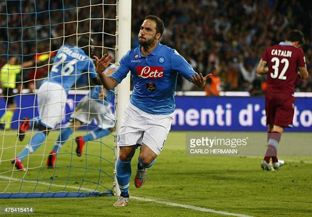 Napoli's forward from Argentina and France Gonzalo Higuain celebrates after scoring during the Italian Serie A football match SSC Napoli vs SS Lazio...