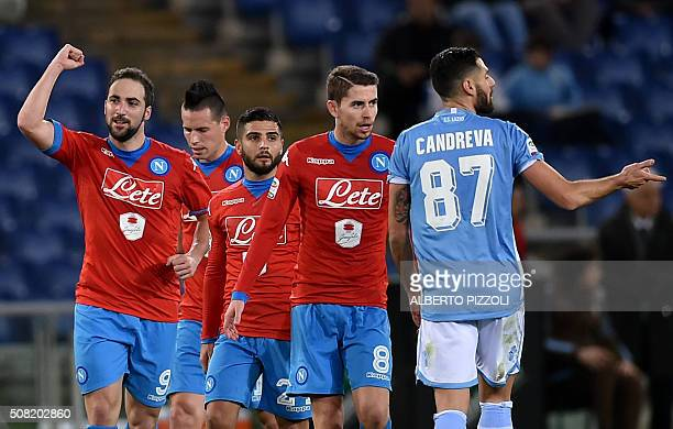 Napoli's forward from Argentina Gonzalo Higuain celebrates after scoring during the Italian Serie A football match Lazio vs Napoli on February 3 2016...