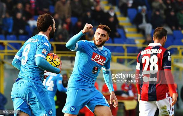 Napoli's forward from Argentina Gonzalo Higuain celebrates with Napoli's midfielder from Spain David Lopez after scoring during the Italian Serie A...