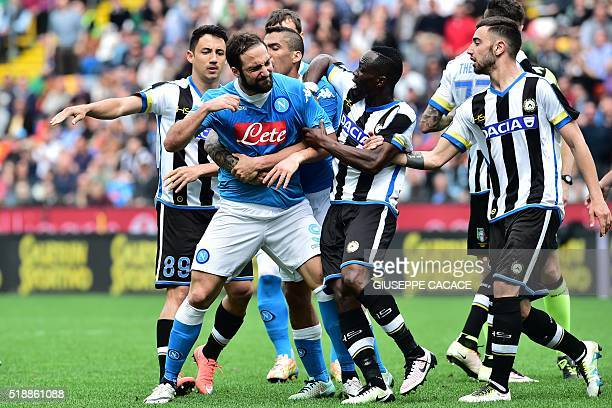 Napoli's forward from Argentina Gonzalo Higuain reacts after he received a red card during the Italian Serie A football match Udinese vs Napoli at...