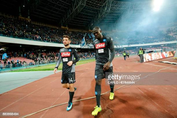 Napoli's forward from Belgium Dries Mertens and Napoli's defender from France Kalidou Koulibaly look dejected at the end of the Italian Serie A...