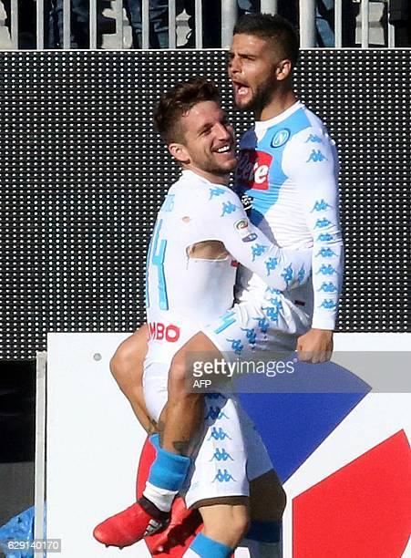 Napoli's forward from Belgium Dries Mertens celebrates with teammate Lorenzo Insigne after scoring a goal during the Italian Serie A football match...