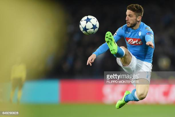 TOPSHOT Napoli's forward from Belgium Dries Mertens controls the ball during the UEFA Champions League football match SSC Napoli vs Real Madrid on...