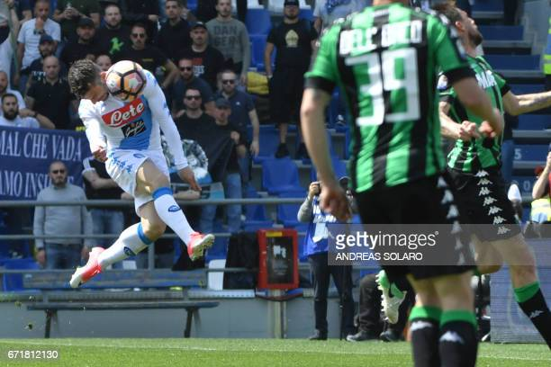 Napoli's forward from Belgium Dries Mertens scores during the Italian Serie A football match Sassuolo vs Napoli on April 23 2017 at Reggio Emilia's...