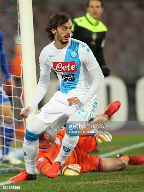 Napoli's forward from Italy Manolo Gabbiadini celebrates after scoring during the Italian Serie A football match SSC Napoli vs UC Sampdoria on...