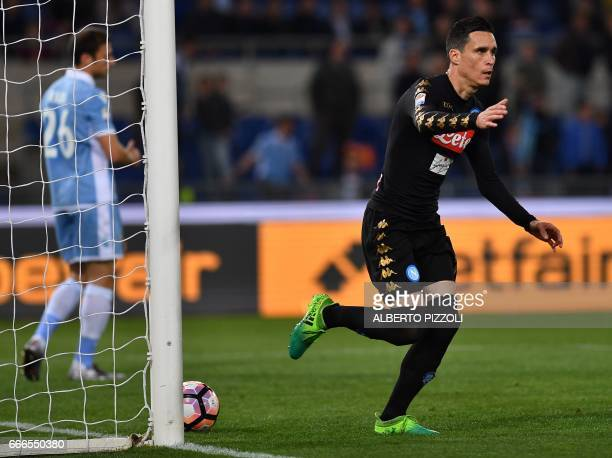Napoli's forward from Spain Jose Maria Callejon celebrates after scoring during the Italian Serie A football match Lazio vs Napoli on April 9 2017 at...