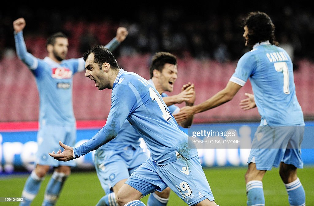 SSC Napoli's forward Goran Pandev (C) and team mates celebrates after a goal during an Italian Serie A football match SSC Napoli vs US Palermo at San Paolo Stadium in Naples on January 13, 2013.