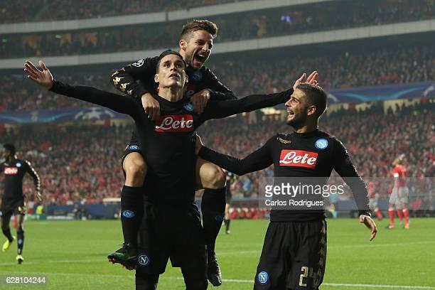 Napoli«s forward Jose Maria Callejon from Spain celebrates scoring Napoli fist goal with his team mates Napoli«s forward Dries Mertens from Belgium...