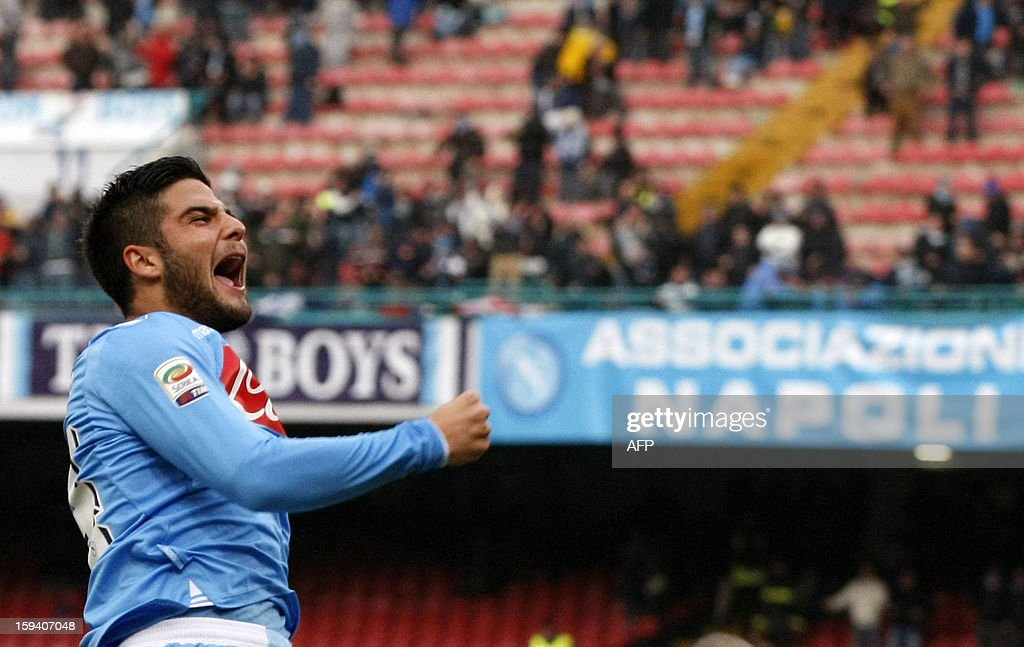 Napoli's forward Lorenzo Insigne celebrates after scoring during the Italian Serie A football match SSC Napoli vs US Palermo won by SSC Napoli 3-0 at San Paolo Stadium in Naples on January 13, 2013.