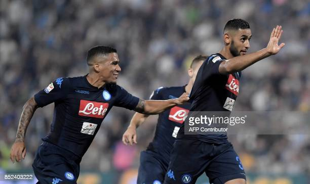 Napoli's French defender Faouzi Ghoulam celebrates after scoring a goal during the Serie A football match between Spal and Napoli at Paolo Mazza...