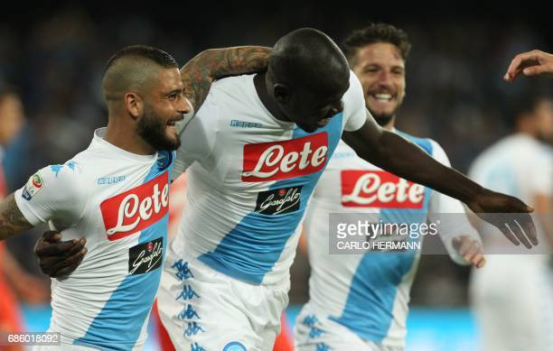 Napoli's French defender Kalidou Koulibaly celebrates with teammates after scoring during the Italian Serie A football match SSC Napoli vs Fiorentina...