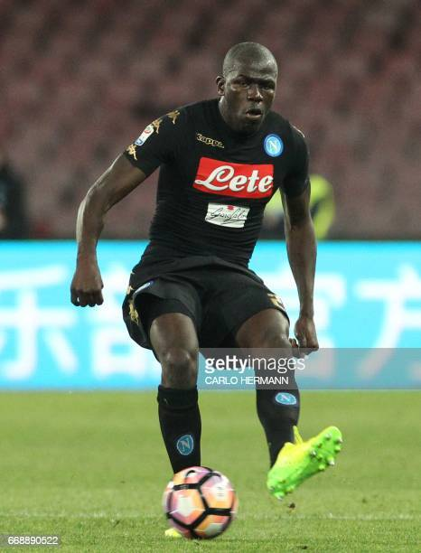 Napoli's French defender Kalidou Koulibaly controls the ball during the Italian Serie A football match SSC Napoli vs Udinese Calcio on April 15 2017...