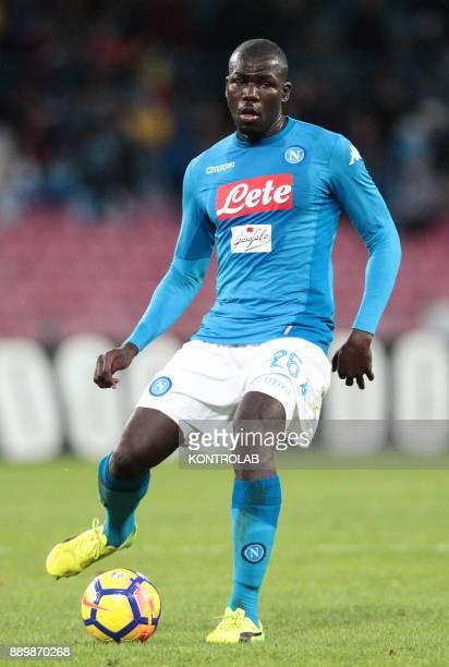 STADIUM NAPLES CAMPANIA ITALY Napoli's French defender Kalidou Koulibaly controls the ball during the Italian Serie A football match SSC Napoli vs...