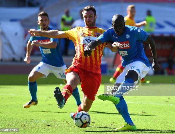 Napoli's French defender Kalidou Koulibaly kicks the ball during the Italian Serie A football match Napoli vs Benevento on September 17 2017 at San...