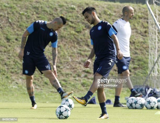 Napoli's French forward Adam Ounas controls the ball during a training session on the eve of the UEFA Champions League Group F football match Shaktar...