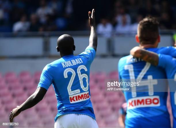 Napoli's French Senegalese defender Kalidou Koulibaly celebrates after scoring during the Italian Serie A football match Napoli vs Cagliari on...