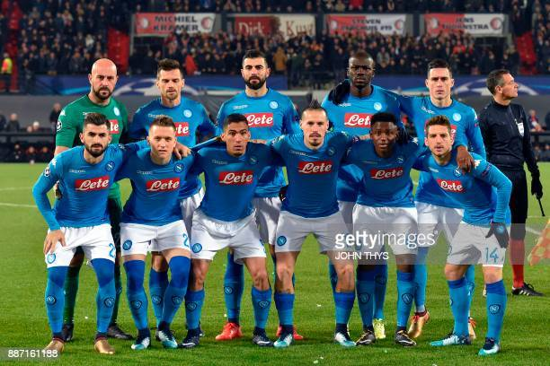 Napoli's goalkeeper from Spain Pepe Reina midfielder from Italy Christian Maggio defender from Spain Raul Albiol defender from France Kalidou...