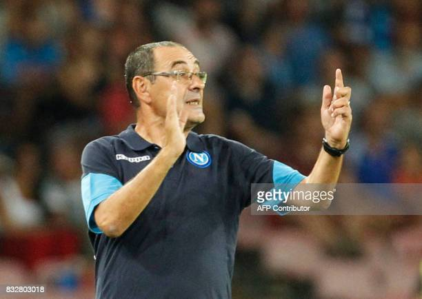 Napoli's Italian coach Maurizio Sarri gestures during the UEFA Champions League Play Off first leg football match SSC Napoli vs OCG Nice on August 16...