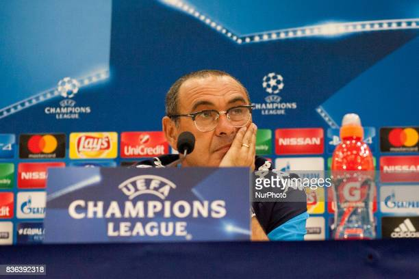 Napoli's Italian coach Maurizio Sarri gives a press conference on August 21 at the Allianz Riviera stadium in Nice southeastern France on the eve of...