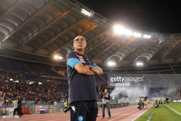 OLIMPICO ROME LAZIO ITALY Napoli's Italian coach Maurizo Sarri looks on before the Italian Serie A football match AS Roma vs SSc Napoli at the...